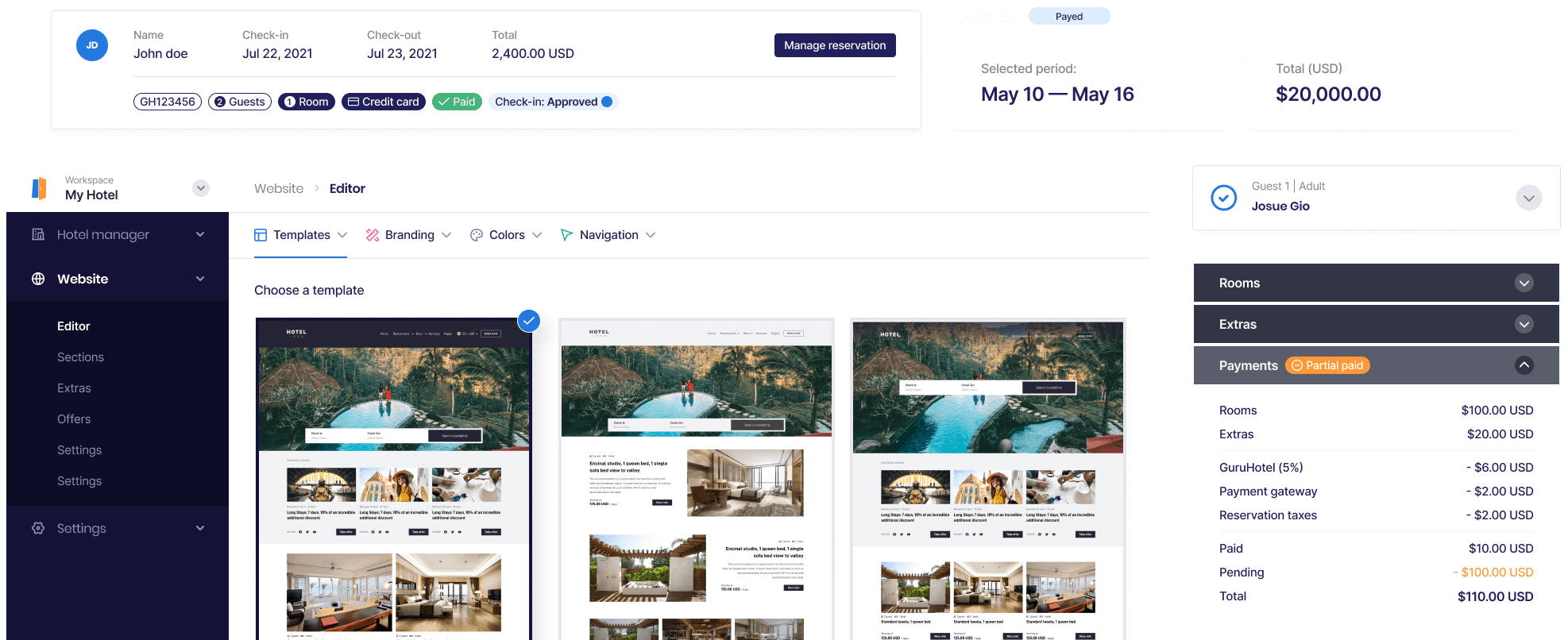 GuruHotel Manager Preview